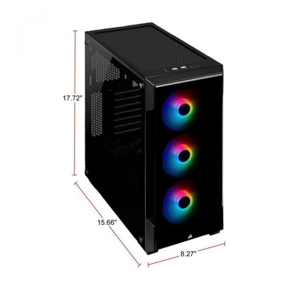 Corsair Case iCUE 220T Tempered Glass, 3RGB Fan, Mid-Tower PC Smart Case- Black, CC-9011190-WW