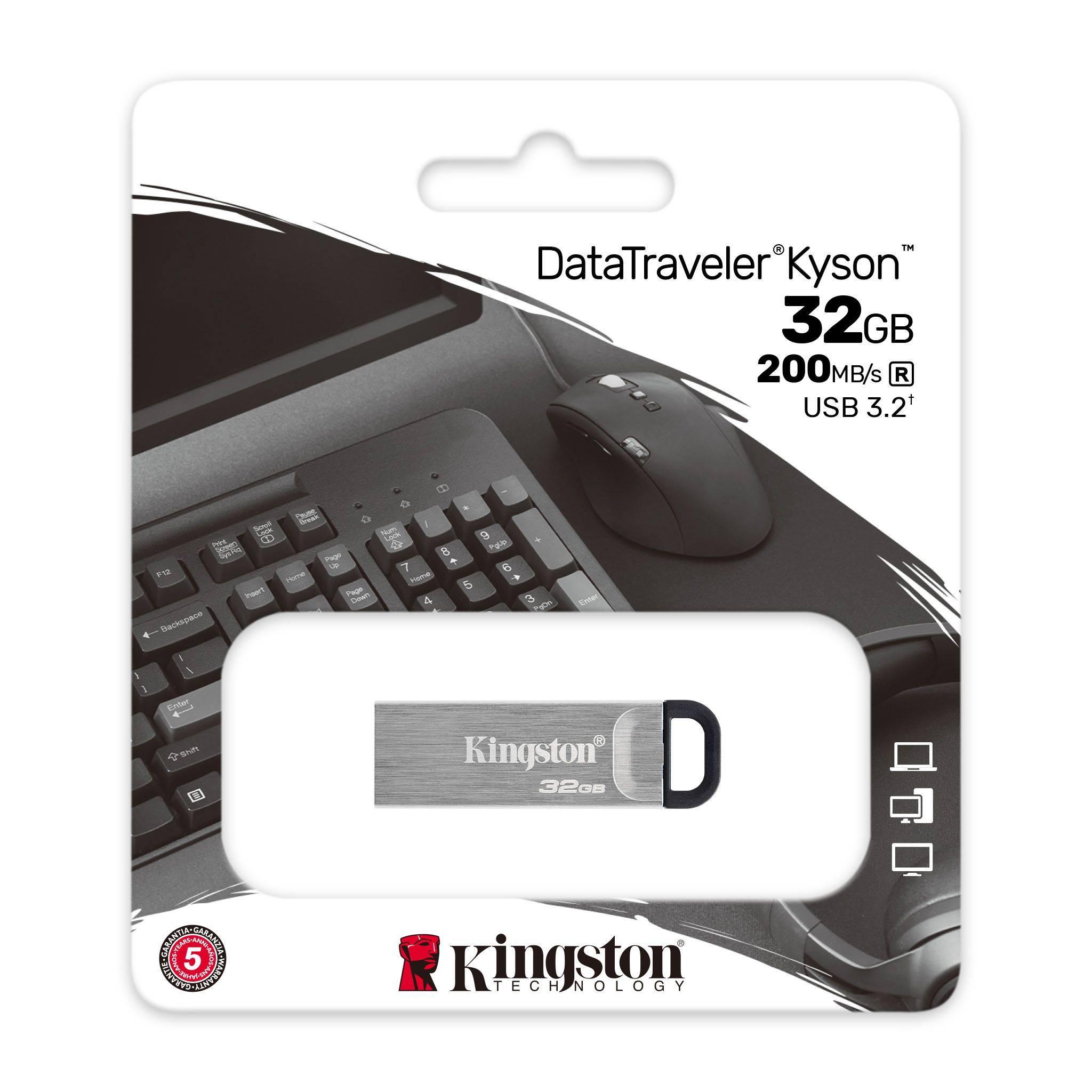 Kingston USB 3.0 Flash Drive 32GB with Stylish Capless Metal Case DTKN/32G