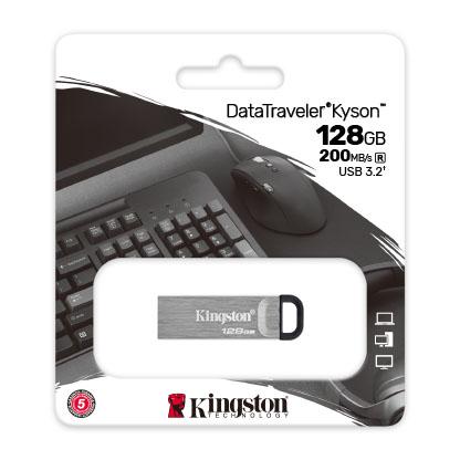 Kingston USB 3.0 Flash Drive 128 GB with Stylish Capless Metal Case